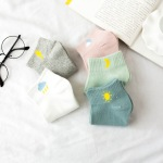 Socks Female Spring And Summer  Sweet Wind Campus Student Socks Boat Socks Breathable Cotton Women Weather - White With Paper Cards