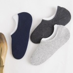 Thin Cotton Socks Male Solid Color Silicone Invisible Socks Boat Socks Male - Black One Size