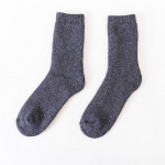 Men Winter Thick Terry Socks Thick Wool Socks  Solid Color Rabbit Wool Socks Warm Towel Socks Wholesale - Men's Navy One Size
