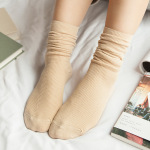 Slouch Socks Female Autumn And Winter Cotton Solid Color Socks Relent Slouch Socks Female Stockings Socks Boots Wholesale - White One Size