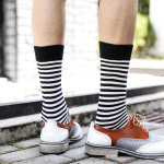 Winter Wind Minimalist Black And White Striped Tube Socks For Men And Women Couple Houndstooth Wild Socks Wholesale Tide - 2 EU 36-44