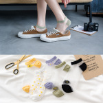 New Spring And Summer Daisies Card Stockings Ultra-thin Breathable Glass Fiber Wild College Wind Ms. Invisible Socks Boat Socks - Daisy White Simple Packaging