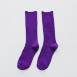 Slouch Socks Cotton Solid Color Plain Double Needle Cotton Girls Socks Wholesale - Purple One Size