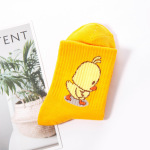 Autumn And Winter Fashion Ins Socks In Tube Socks Cotton Socks Tide Cartoon Motion - Yellow One Size