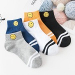 Spring And Summer Arrival Women's Cotton Socks Ship Cartoon Smiley College Wind Breathable Socks, Women's Socks Wholesale - White One Size