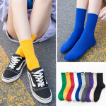 Winter Long-barreled Socks Piles Of Socks WTA Red Candy Solid Color Tube Socks Ins Tide Wild - White One Size