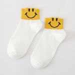 5 Pairs Cotton Shallow Mouth Socks Female Cartoon Smiley Face Fresh Socks - All White One Size