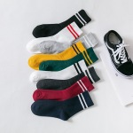 10 Pairs Two Bars Socks Solid Color Female Crew Socks - Dark Gray One Size