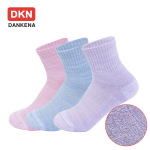 DANKENA Combed New Winter Thick Socks Terry Towels Color Breathable Leisure Sports Socks - Female S 234-3 Purple One Size