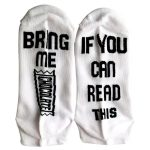 IF YOU CAN READ THIS BRING ME SOME Casual Cotton Socks Men Women Crew Letters Socks AB Mismatched Socks Novelty Socks - Champagne One Size