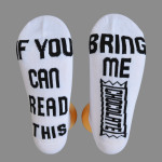 IF YOU CAN READ THIS Casual Jacquard Letter Socks AB Sock Mismatched Socks Novelty Socks - CHAMPAGNE One Size