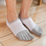 Toe Socks Male Cotton Socks Spring And Summer Thin Section Stealth Boat Socks Absorb Sweat Breathable Mesh Toe Socks - White One Size