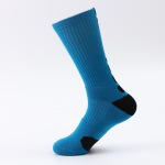 Towel Bottom Sports Socks Absorb Sweat Non Slip Damping Terry Crew Socks Wholesale - White Blue Label One Size