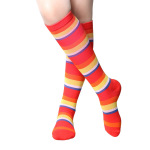 Breathable Wicking Knee High Basketball Compression Socks Compression Stockings Color Stripes Outdoor Sports Socks  - Color Stripes 2 S / M