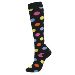 20-30 mmHg Outdoor Sports Socks Compression Stockings Polka Dots Fashion Running Compression Socks for Men Women Wholesale - Black And White Five-pointed Star S / M