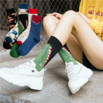 Winter Hip-hop Socks In Tube Socks Ins Crocodile Harajuku Skateboard Socks Lovers Socks - Green Crocodile One Size
