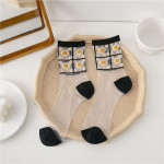 Spring Summer Socks Korean Fashion Flowers Glass Fiber Socks Transparent Stockings Socks Ankle Stockings - Khaki