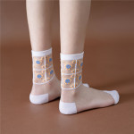 Spring Summer Socks Korean Fashion Flowers Glass Fiber Socks Transparent Stockings Socks Ankle Stockings - Black