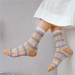 Fashion New Spring Summer Socks Stockings British Style Silk Pattern Glass Fiber Socks Ankle Stockings - Olive One Size