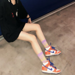 Autumn And Winter In Tube Socks Cotton Sports Socks Tide Personality Street Letter BLUE Socks - White One Size
