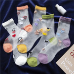 Summer Fashion Transparent Cylindrical Glass Loving Silk Stockings Thin Stockings Socks Ankle Stockings - White One Size