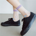 Summer Fashion Transparent Cylindrical Glass Loving Silk Stockings Thin Stockings Socks Ankle Stockings - Emerald One Size