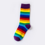 Rainbow Striped Socks Ins Cotton Socks Sports College Wind Tide Crew Socks - Red Cuffs EU 35-43