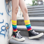 Rainbow Striped Socks Ins Cotton Socks Sports College Wind Tide Crew Socks - Yellow Cuffs EU 35-43