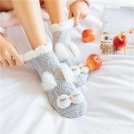 Girls Coral Cashmere Socks Crew Socks Warm Winter Sleep Thick Silicone Non-slip Floor Home Socks Cartoon Socks Fuzzy Socks Fluffy Socks - White Eyes One Size