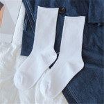 Navy Blue Socks Piles Of Socks Summer Thin Models Female Female Cotton Tube Socks Korean Wild Autumn Long Purple Socks Tide - White One Size
