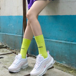 Winter Cotton Stockings Ms. English Alphabet Street Sports Bright Colors Skateboard Socks - Fluorescent Yellow One Size