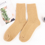 Thick Warm Cashmere Women Doubles Needle Winter Socks Crew Socks Plain Floor Wholesale Fluffy Fuzzy Socks - Black One Size