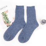 Thick Warm Cashmere Women Doubles Needle Winter Socks Crew Socks Plain Floor Wholesale Fluffy Fuzzy Socks - Red One Size