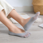 Ms Socks Wrapped Fine Mesh Thin Section Toe Socks Cotton Socks Female Invisible Slip - Gray One Size