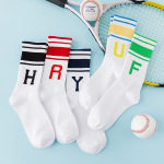 Stockings Children Alphabet Sports Socks Cotton Socks Stripe Student Bar In Tube Socks College Baseball - Yellow U One Size