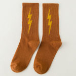 Dongkuan Cotton Socks Socks Tide Of Street Lightning Skateboard Pure Cotton Socks In Tube Socks Sports - Black One Size