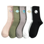 Girls Socks Autumn Thin Section Tube Socks Cute Embroidery Ins Planet Tide Wild Female Personality Stockings - White One Size