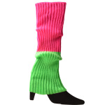 Fall And Winter Color Fluorescent Color Wool Knit Socks Warm Gloves For Halloween Party Dress Accessories Thick Legs Sets - Pink One Size