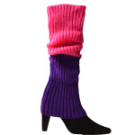 Fall And Winter Color Fluorescent Color Wool Knit Socks Warm Gloves For Halloween Party Dress Accessories Thick Legs Sets - Sky Blue One Size