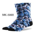 Men And Women Personalized Printing Tide Tube Socks Coolmax Flowers And Trees Pattern Socks - MK-5058 Size 39-43