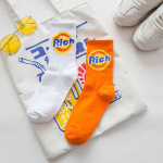 3 Pairs Orange Letters Tall Men And Women Crew Socks Rich Hip-hop Hip-hop Street Skateboarding Stockings - Orange One Size