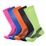 Men Women Marathon Outdoor Sports Compression Socks Knee High Socks Pressure Stocking for Running - Black One Size