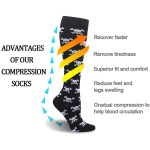 20-30 mmHg High Elastic Graduated Stockings Trainer Sports Skull Compression Sock for Varicose Veins Wholesale - Skull EU 35-40