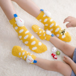 Coral Velvet Christmas Socks Female Socks Cute Cartoon Socks Children's Home Floor Socks Non-slip Socks Fluffy Fuzzy Socks - Yellow Snowman Children Size