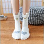 Coral Velvet Embroidery Home Crew Socks Cute Catlike Ears Floor Socks Sleeping Socks Fluffy Fuzzy Socks - Coffee One Size
