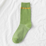 Spring And Summer Socks Japanese Avocado Green Line Tube Socks Girls College Style Ins Socks - Green Plaid One Size