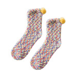 Coral Cashmere Socks Women Crew Cake Sock Winter Home Plus Thick Velvet Towel Socks Floor Socks Sleeping Socks Fuzzy Socks Fluffy Socks - Azure Withou Box