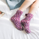 Coral Cashmere Socks Women Crew Cake Sock Winter Home Plus Thick Velvet Towel Socks Floor Socks Sleeping Socks Fluffy Fuzzy Socks - Purple Withou Box