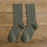 Autumn And Winter Tube Socks Slouch Socks Solid Color Socks Needle Cotton Socks - Khaki One Size