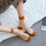 Spring Summer Ultra-thin Female Shi Kasi Japanese Candy-colored Socks Boat Socks Glass Fiber Mesh Socks Dot Socks Ankle Stockings - Red Band-Aid One Size
